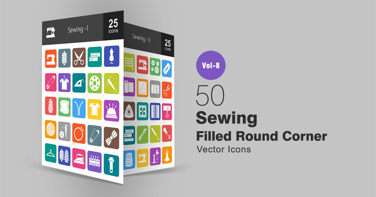 50 Sewing Filled Round Corner Icons by Unknow