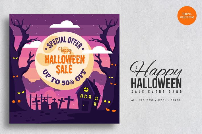Thumbnail for Happy Halloween Sale Vector Card Vol.1