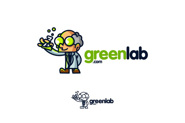 Cover Image For GreenLab - Scientist Character Mascot Logo
