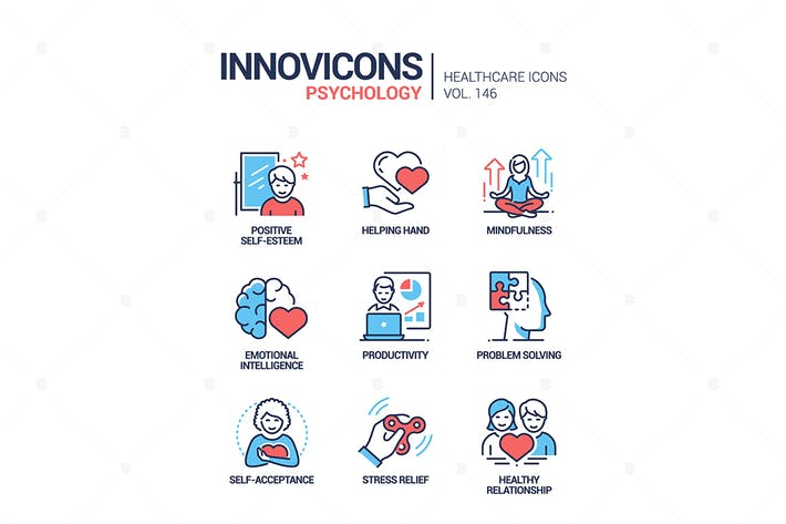 Thumbnail for Psychology concept - line design style icons set