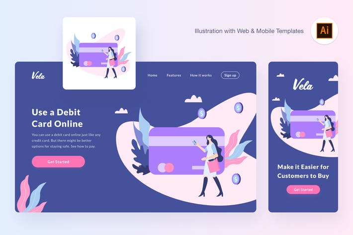 Thumbnail for Buying via debit card illustration (AI, SVG)