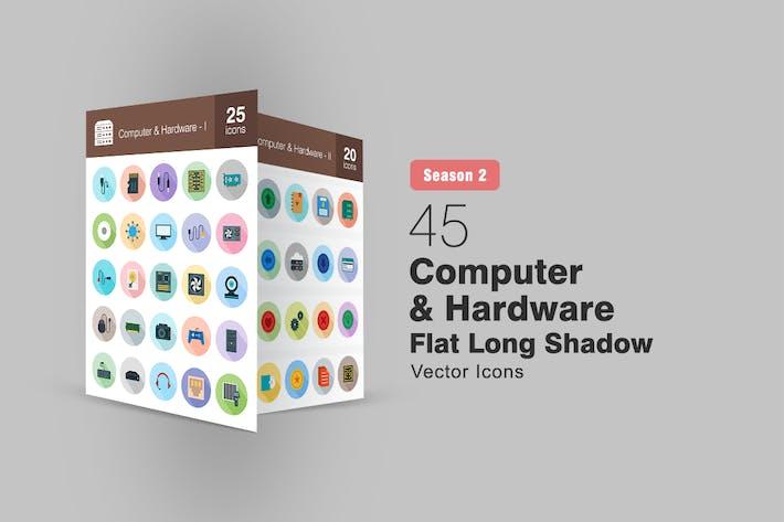Thumbnail for 45 Computer & Hardware Flat Long Shadow Icons