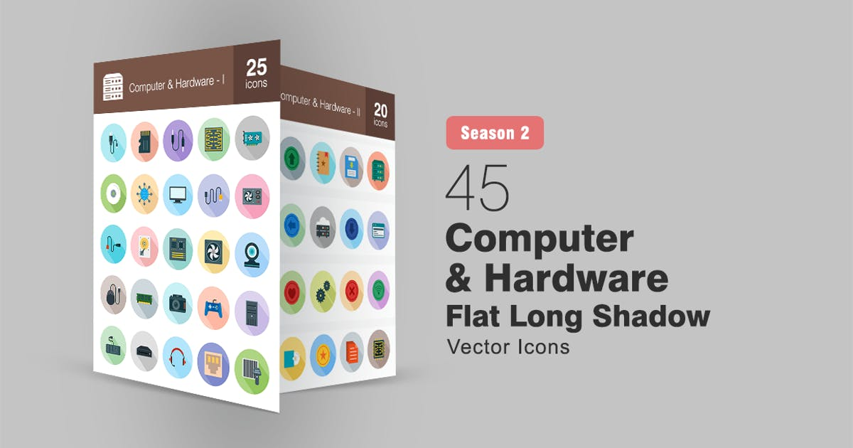 Download 45 Computer & Hardware Flat Long Shadow Icons by IconBunny