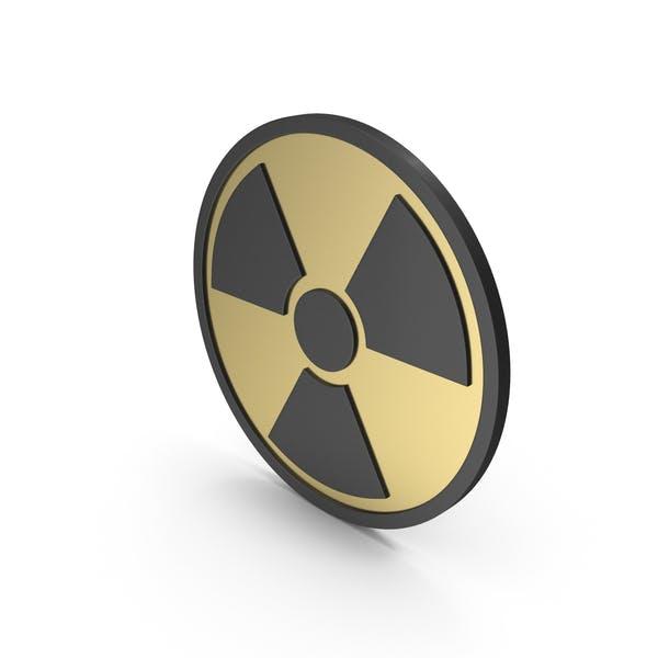 Strahlungszeichen Gold Schwarz