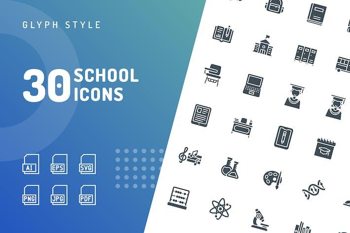 School Glyph Icons