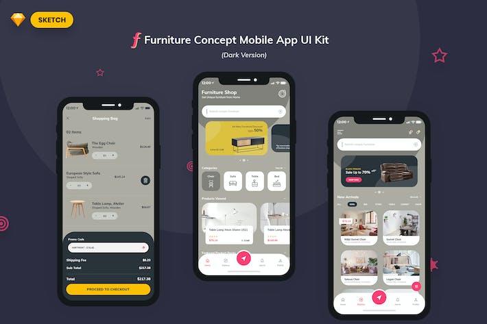 Thumbnail for Furniture App UI Kit Dark Version (SKETCH)