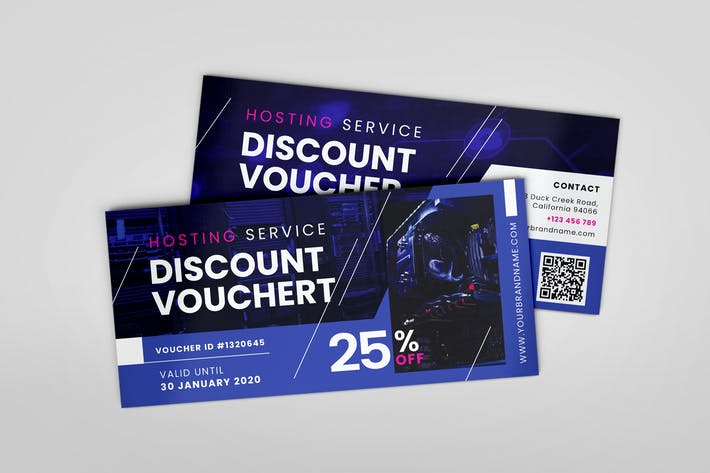Thumbnail for Hosting Service AI and PSD Gift Voucher Template