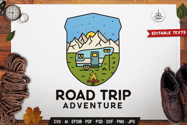 Thumbnail for Road Adventure Emblem Modern Logo SVG Travel Badge