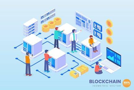 Isometric Blockchain Technology Vector Concept
