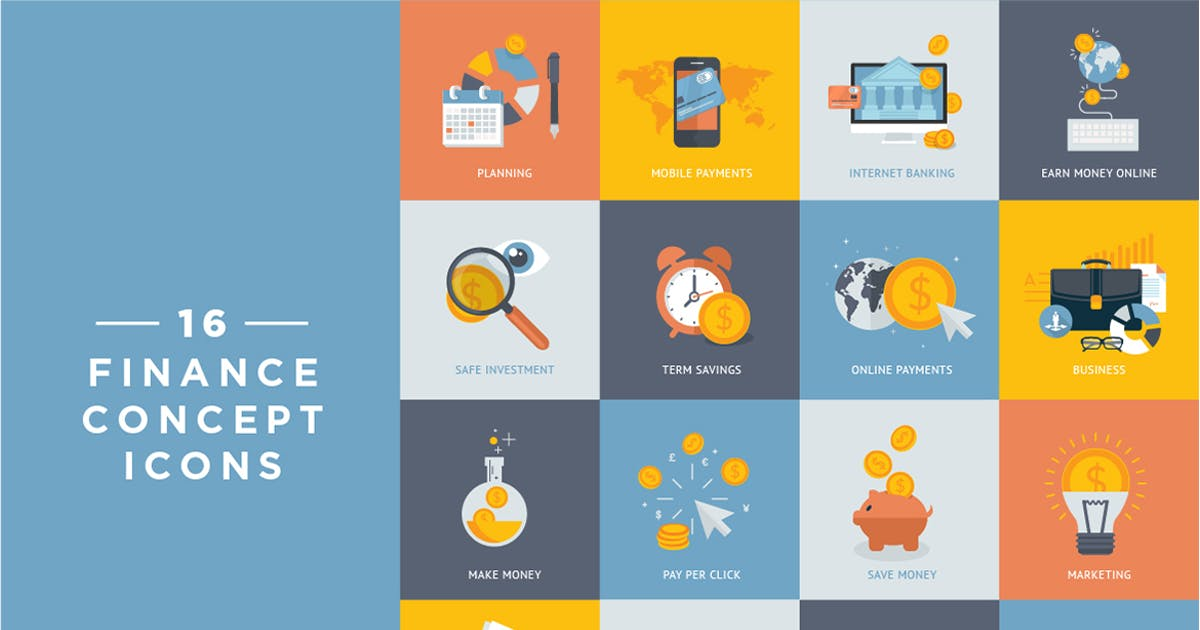 Download Set of Flat Design Finance and Banking Icons by PureSolution