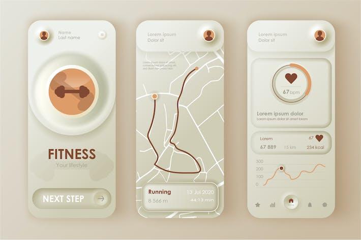 Thumbnail for Fitness Neumorphic Mobile App UI Kit