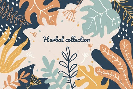 Abstract foliage, plant leaves flat illustration