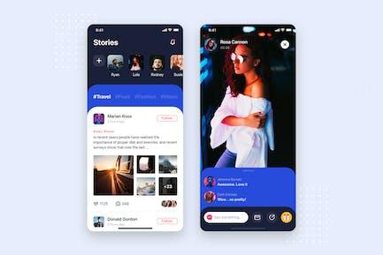 Social Stories Mobile App UI Kit Template