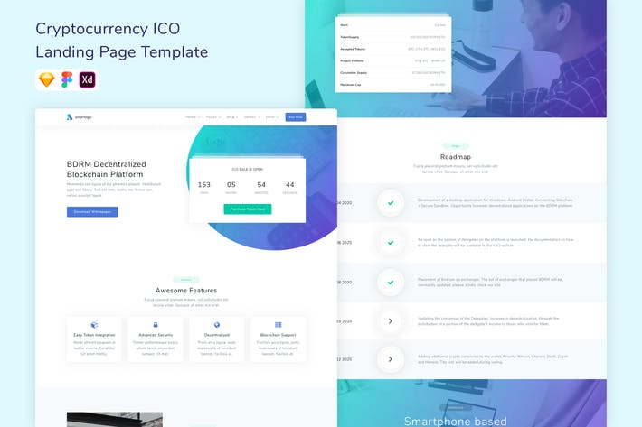 Thumbnail for Bitcoin & Cryptocurrency ICO Landing Page Template
