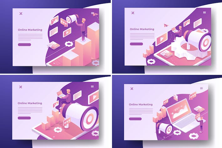 Thumbnail for Online Marketing Isometric Illustrations