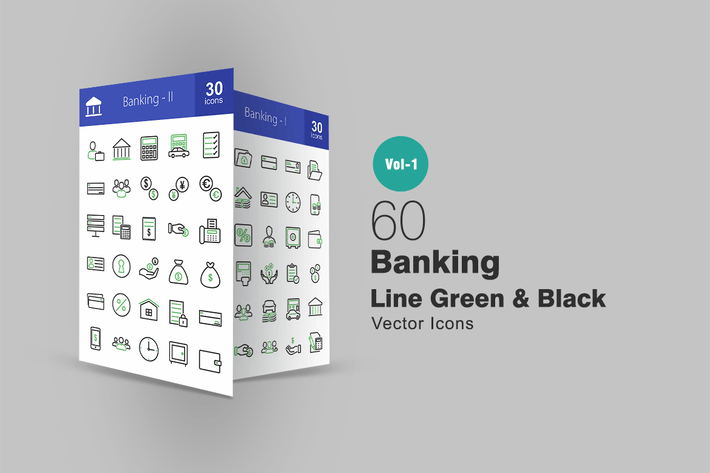 Thumbnail for 60 Banking Line Green & Black Icons