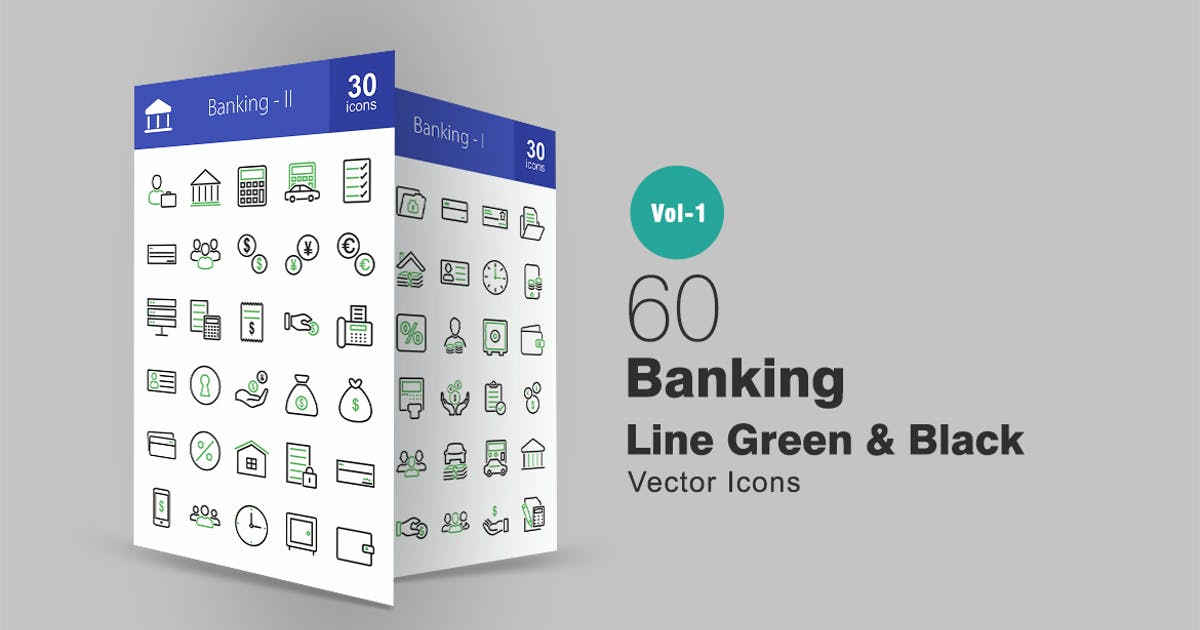 Download 60 Banking Line Green & Black Icons by IconBunny