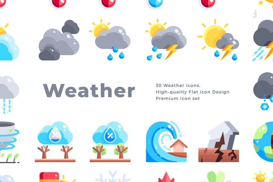 30 Weather Icons - Flat