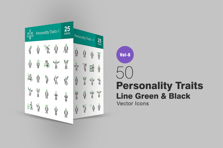 Thumbnail for 50 Personality Traits Green & Black Line Icons