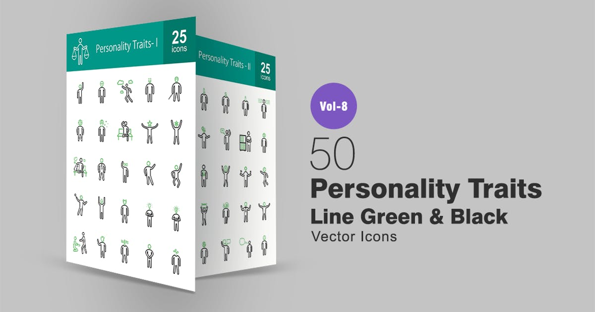 Download 50 Personality Traits Green & Black Line Icons by IconBunny