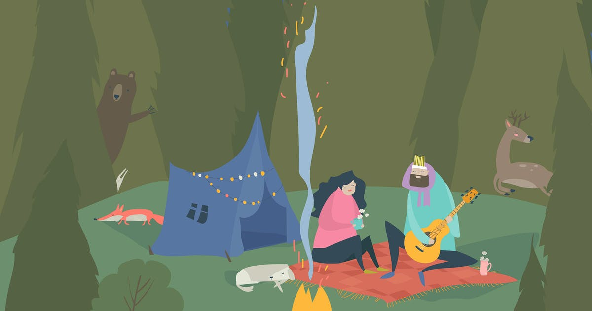 Download Man and woman sitting in camp near bonfire. Outdoo by masastarus