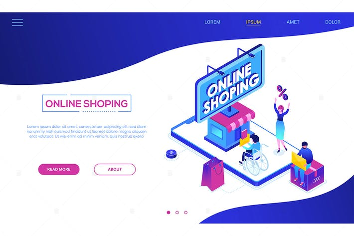 Online shopping - colorful isometric web banner