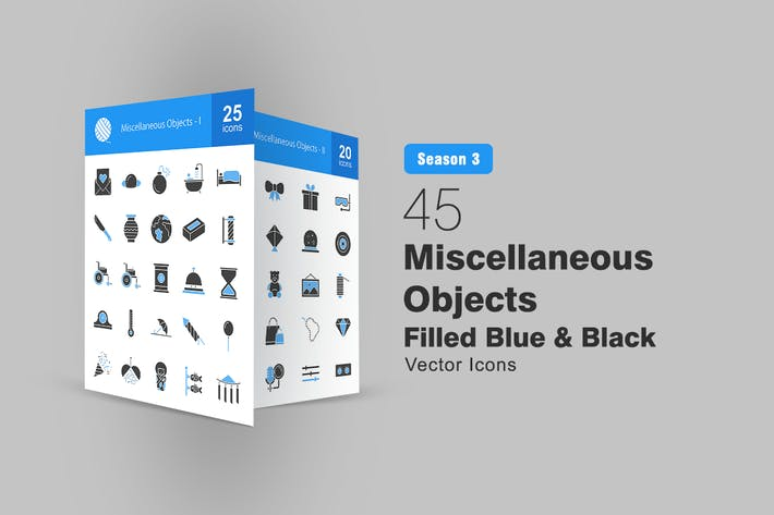 45 Miscellaneous Objects Filled Blue & Black Icons