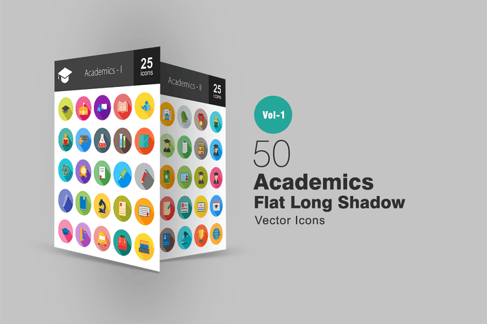 Cover Image For 50 Academics Flat Long Shadow Icons