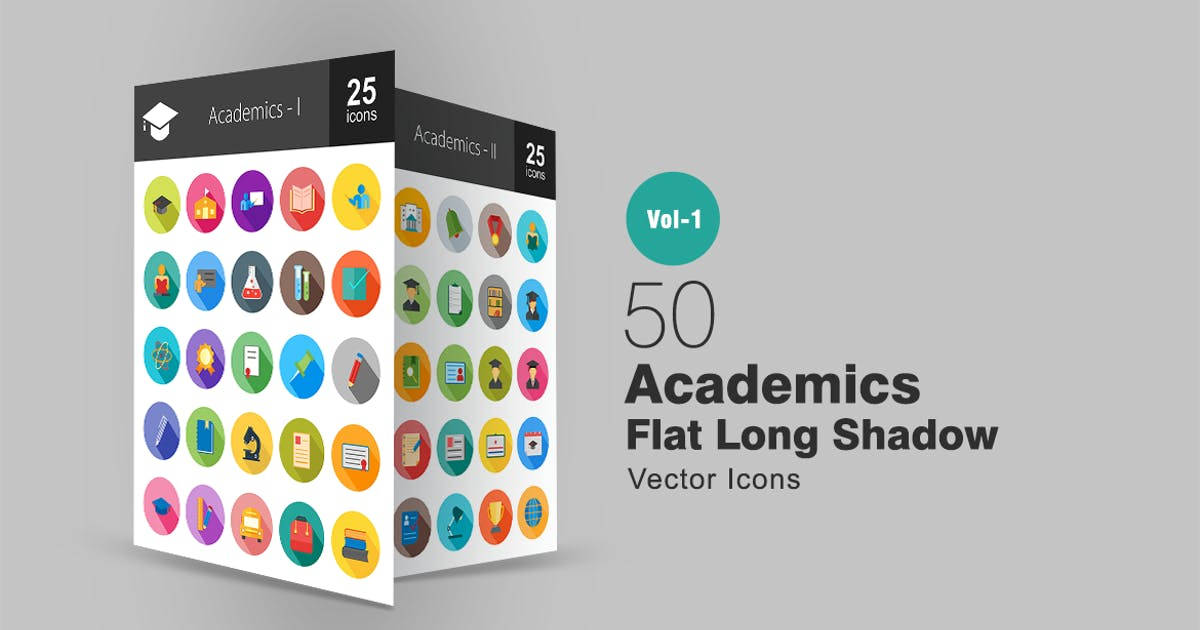 Download 50 Academics Flat Long Shadow Icons by Unknow