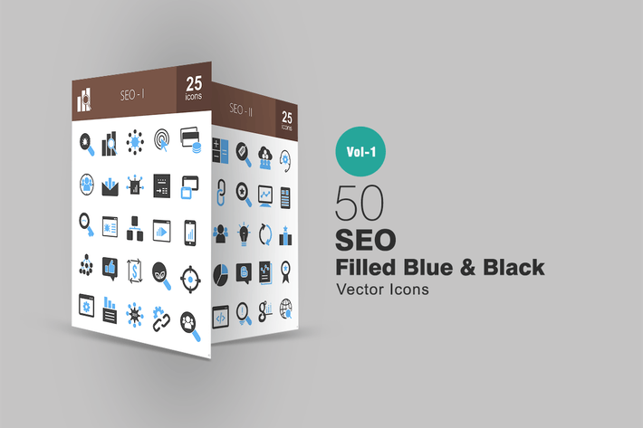 Thumbnail for 50 SEO Blue & Black Icons