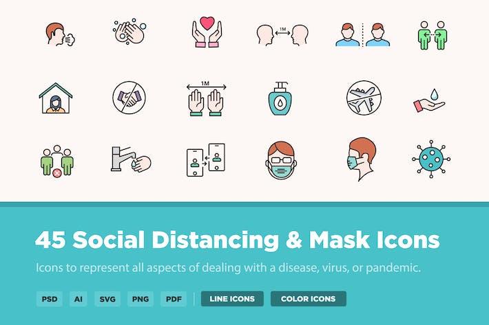 Thumbnail for 45 Social Distancing & Mask Icons