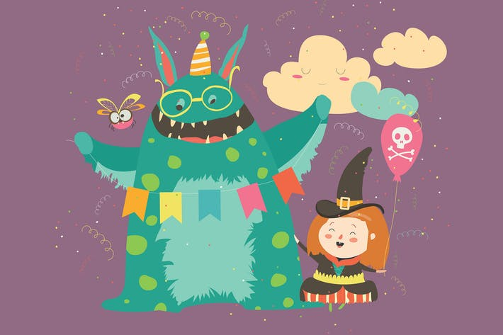 Thumbnail for Happy girl with her monster. Vector
