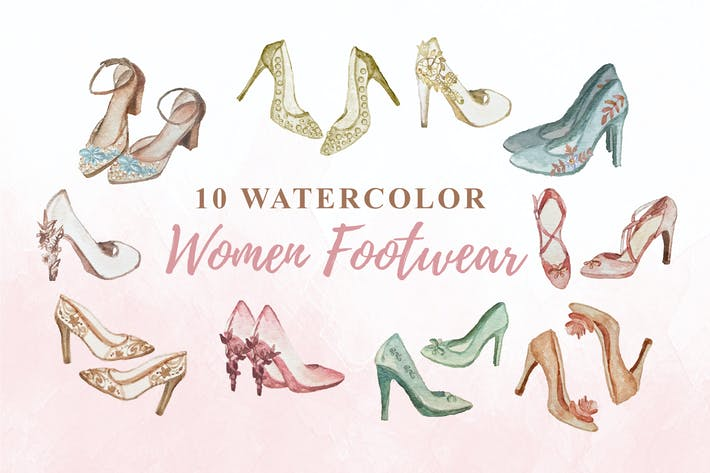 Thumbnail for 10 Watercolor Women Footwear Illustration Graphics