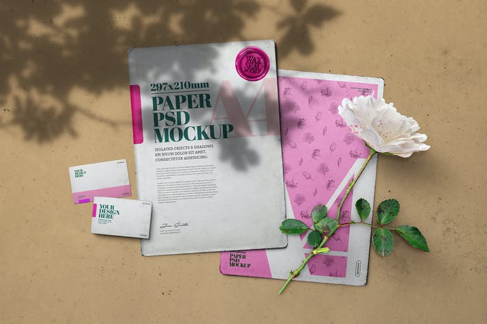 Vintage Paper Mockup A4 White Rose Scene