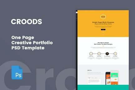 Croods - One Page PSD Template for Creative People