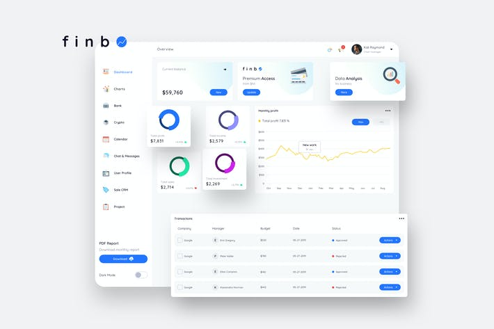 Thumbnail for finbO Finance Dashboard Ui Light - FP