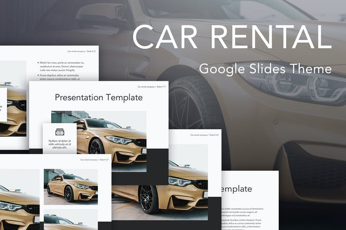 Cover Image For Car Rental Google Slides Theme