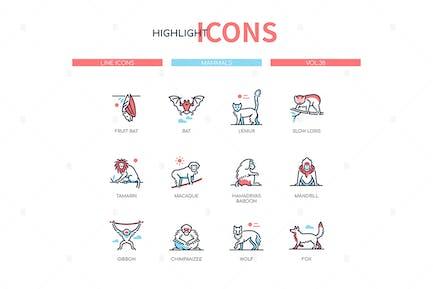 Différents mammifères - Icones de style de conception de ligne moderne