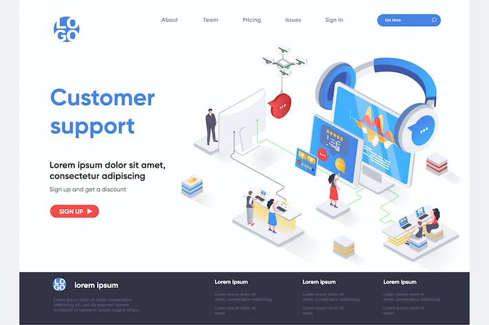 Thumbnail for Customer Support Isometric Landing Page Template