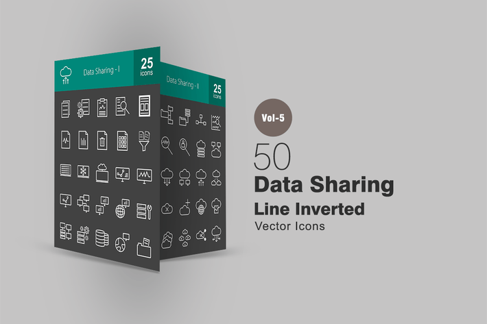 Thumbnail for 50 Data Sharing Line Inverted Icons