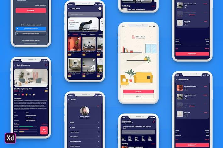 Thumbnail for Furniture Mobile App UI Kit Dark Version (XD)