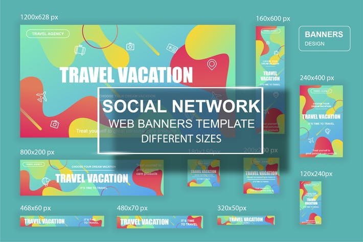 Thumbnail for Travel Social Network Web Banners Ads Template