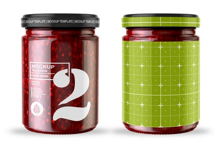 Strawberry Jam Jar Mockup
