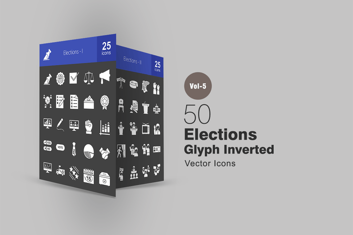 Thumbnail for 50 Elections Glyph Inverted Icons