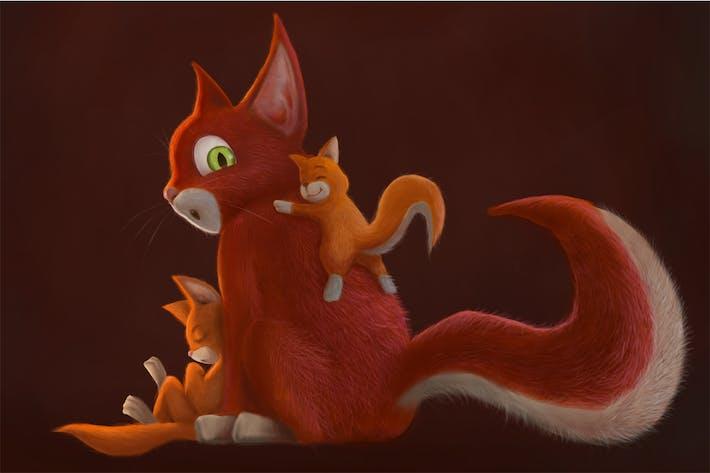 Thumbnail for Familienkatze handgezeichnet Digitalmalerei