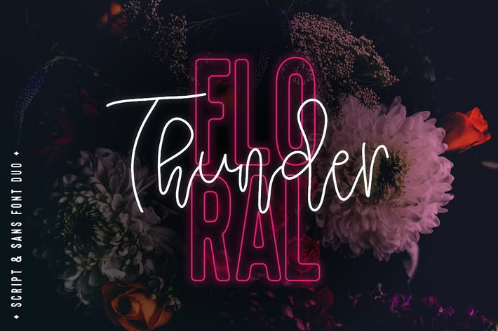 Thumbnail for Floral Thunder Font Duo