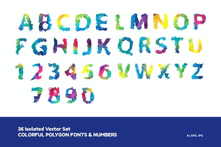Colorful Polygon Fonts and Numbers