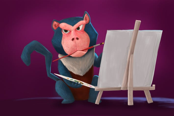 Baboon Painting Hand Drawn Digital Painting