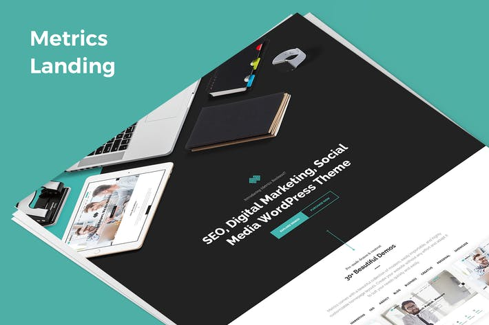 Thumbnail for Metrics Demo Landing PSD Template