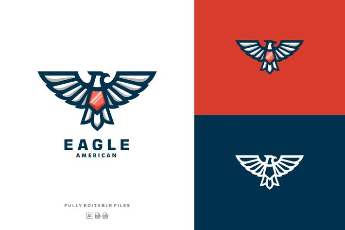 Thumbnail for Eagle Mascot Line Art Style Logo Template